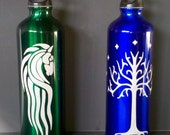 Set of 2 Etched Aluminum Water Bottles - White Tree of Gondor and Flag of Rohan