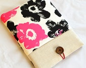 Ipad case,Ipad sleeve padded with string and button,bright bold flower print