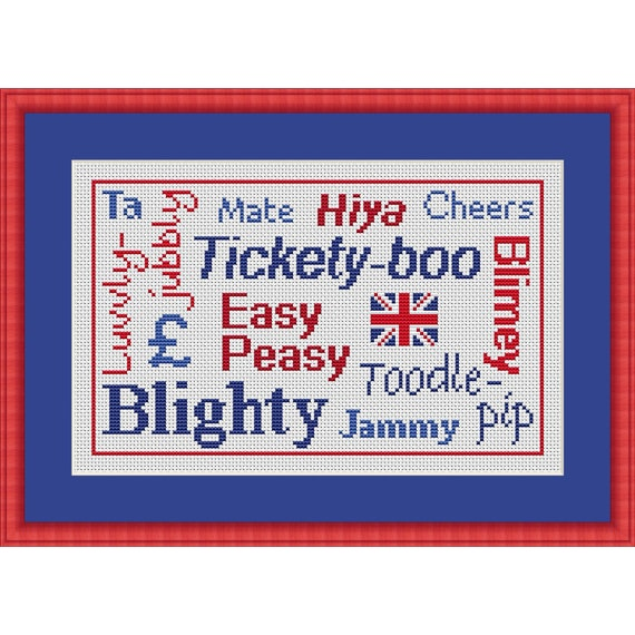 British Words PDF Cross Stitch Chart