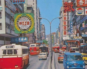 60s A Major Road in HONG KONG Nathan Road Postcard 香港 彌敦道