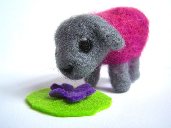 Needle Felted Sheep - Miniature 'Disco Sheep' Sculpture