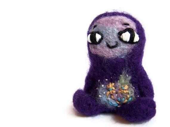 Needle Felted Monster, Cute Amigurumi Felt Monster, Miniature Soft Sculpture (Lobelia Grapeseed)