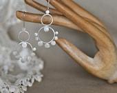 Sterling silver hoop earrings with small dots. Gypsy, boho style. Jewelry handmade in Australia