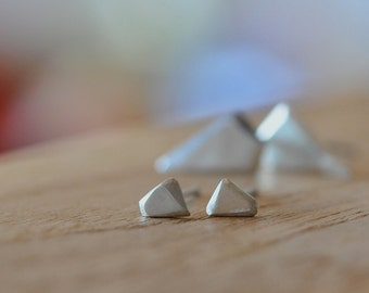 Small 5mm Geometric Faceted Organic Shaped Stud Earrings Modern Minimalist Rustic Recycled Eco-friendly Sterling Silver Jewelry Matt Finish