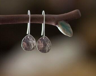 Sterling silver tear drop earrings on a hook