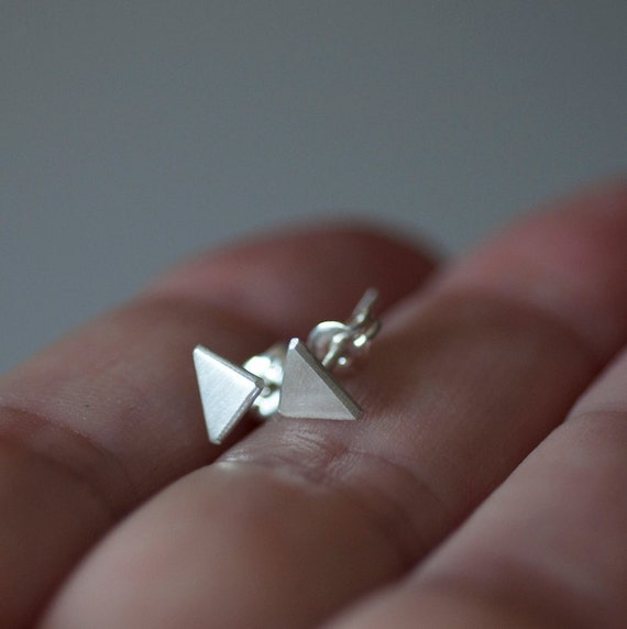 6mm triangle studs Recycled sterling silver Geometric minimalist modern small post earring Unisex Brushed matt finish Faceted