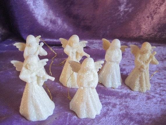 Set of 6 Plastic Glittery Angel Band Ornaments