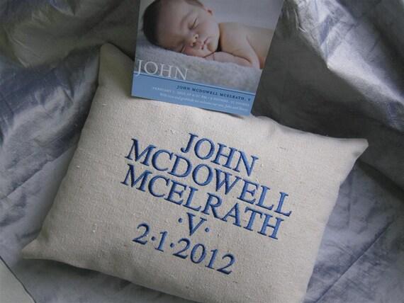 BABY Canvas Name Date Pillow.  CUSTOM w 3-D Shamrocks