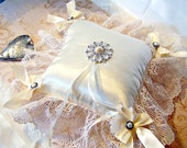 CLEARANCE Jennifer ivory satin deluxe ring bearer's pillow with vintage trim decorative button and ribbon for weddings TAGT tenX