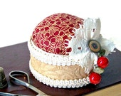 CLEARANCE Contrary Cherry shabby chic felt and fabric red pincushion with beaded fruit TAGT tenX