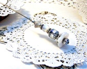 CLEARANCE Beaded hat pin women Bella white lily Victorian silver white milk glass flower scarf lapel stick brooch Pin TAGT tenx