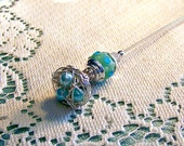Spring Song Robin's Egg Blue Aqua Lamp Glass Bird Nest Victorian Hat Pin or scarf pin handwied TAGT team