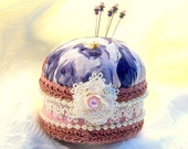 Monet Watercolor Pastel Silk Pincushion for Mother's Day with Pins