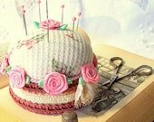 For straight pins pink Sweet shabby chic Birthday Cake pink and white with roses and straight pins Pincushion TAGT MCTT