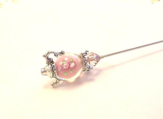 Petite Soft Pink blush Rosebud Lamp Glass miniature teapot Victorian hat pin or scarf pin TAGT