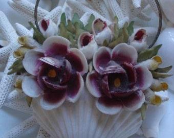 Vintage Mermaid Shell Flower Basket