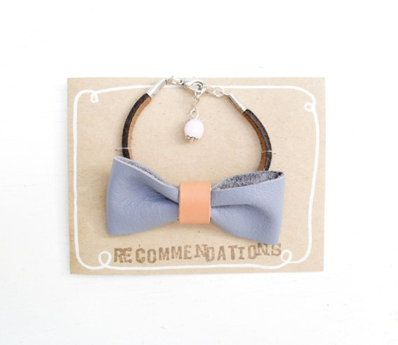 Periwinkle and tangerine - Adjustable leather bow bracelet