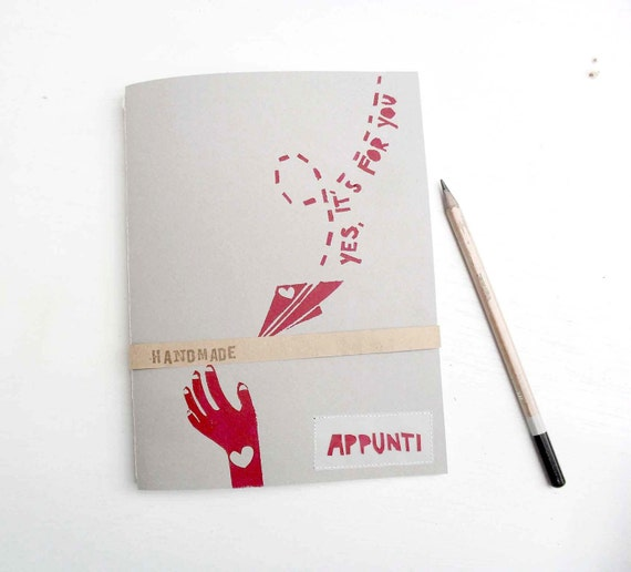 "30% OFF Handpainted Notebook - ""Yes, it's for you"" - Original design"