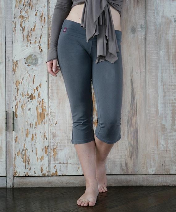 Womens Yoga Pants Simple Cotton Capri By Satyayogawear On Etsy