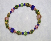 Green, Blue and Gold Cloisonné Bead Stretch Bracelet with Crystals, CZs, Gold Beads and Enamel Bead Caps