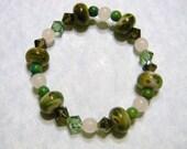 Art Glass, Rose Quartz, Azurite and Crystal Stretch Bracelet