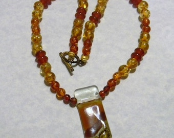 Shades of Brown Art Glass Pendant with Gemstones and CZs