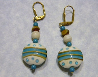 Caramel White and Turquoise Art Glass and Mother of Pearl Earrings
