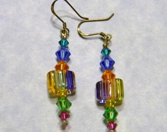 Rainbow Furnace Bead and Crystal Earrings
