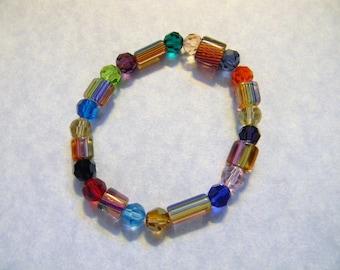 Rainbow David Christensen Furnace Beads and Multicolor Swarovski Crystal Stretch Bracelet