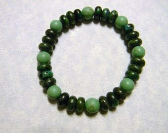Green Turquoise and Chrysocolla Stretch Bracelet