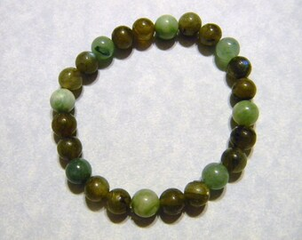 Shades of Green Opaque Gemstone Stretch Bracelet