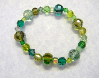 Shades of Green Crystal and CZ Stretch Bracelet