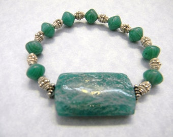 Huge Dark Amazonite Stretch Bracelet with Turquoise Colored Givre Beads and Dotted Bali Silver Beads
