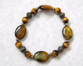 Tigers Eye and Bali Silver Stretch Bracelet