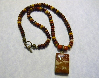 Rectangular Jasper Pendant on Necklace of Moukaite Rondels