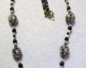 Tibetan Lac Bead, Crystal, Onyx, Hematite and Glass Necklace