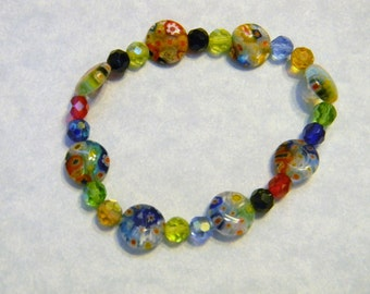 Multicolor Millefiori and Faceted Glass Stretch Bracelet