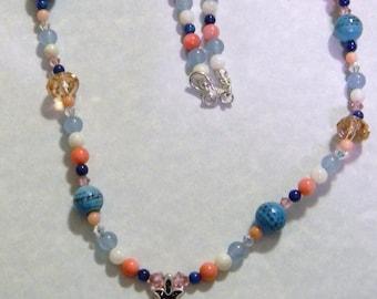 Crystal and Seed Beads Hamsa on Multi-Gemstone Necklace