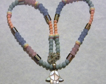 Silver and Pastel Colored Inlaid Motherof Pearl Hamsa Pendant on Necklace of Gemstones, Furnace Beads, Glass and Acrylic Beads