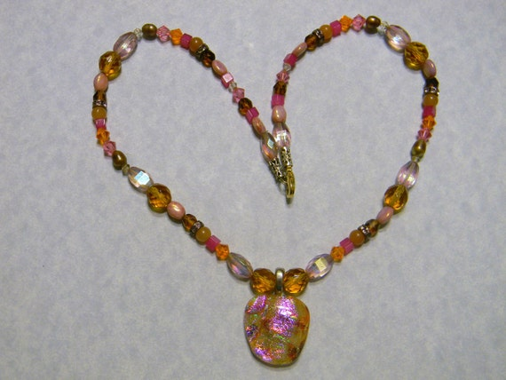 Orange, Gold and Pink Dichroic Glass Pendant on Necklace of Gemstones, Crystals and Faceted Glass