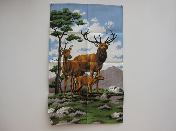 Reserved - SALE 50% OFF - Vintage Linen Tea Towel, Unused/Kitsch/1970s/Deer //TP14