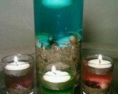 Beach Wedding Centerpiece, Glass Vase Tealight Candle Holder, Floating Candle, Blue,