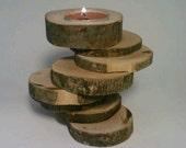 Rustic Candle Holder, Log, Tealight, Spiral, Nine-tiered, Wood, Unique, OOAK