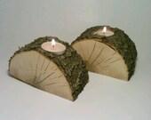 Split Log Tealight Candle Holder. Centerpiece, Room Decor - SET OF 2
