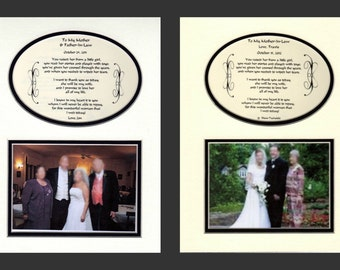 Two Wedding To My Mother and Father-In-Law  Personalized Gift Bridal Favor Bride Groom Parents
