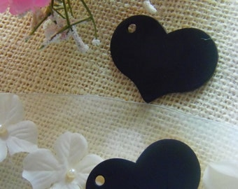 25 Wedding heart Chalkboard Tags  wood favor tags name cards place cards
