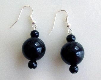 Handmade Black Onyx, Silver Earrings, Cute, New.