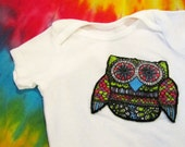 Peace Baby Pretty Owl Onesie - Purple, Pink, Blue & Green