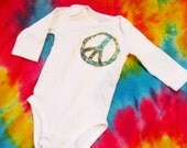 Peace Baby Long Sleeve Boho Onesie - Blue, Green & Orange
