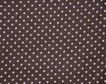 David Textiles fabric PINK DOTS on BROWN